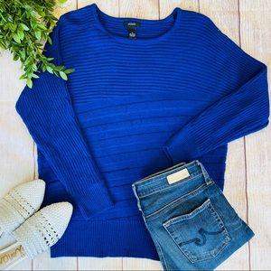 Alfani Blue Ribbed Knit Long Sleeve Sweater